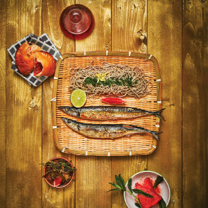 Grilled Sanma with Cold Soba and Watermelon and Mint Salad
