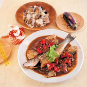 Whole Fish with Tomatoes in Sweet and Sour Sauce with Clams Risotto and Grilled Eggplant