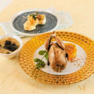 Roast French Quail with Orange Salad with Deep-fried Blue Cheese and Seaweed Soup