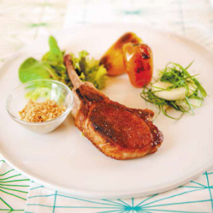 Pan-fried Pork Chop with Crushed Almonds and Pimento Salad