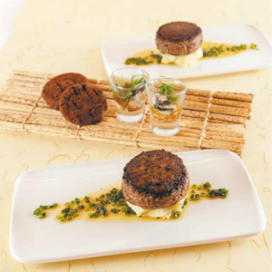Beef Burger Steak on Mashed Potato with Oyster Shooters and Chocolate Butterscotch Cookies